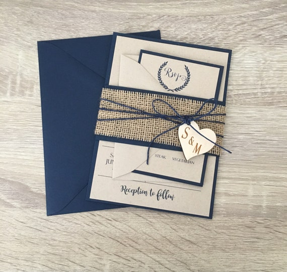Rustic Wedding Invitation Ideas: Rustic Wedding Invitation Burlap Wedding Invitation Navy