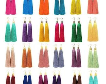 Long tassel earrings gold cap hook earrings Many colors Silky thread tassel earrings Fluorescent and Metallic shades drop earrings