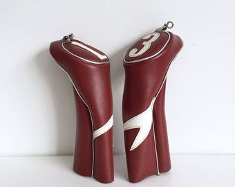 Vintage Spalding Golf Club Headcovers no1 and no3, Vintage style
