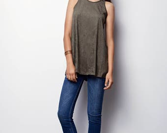Tank Top Tunic, Suede like perforated tunic, with small holes - Ella - Olive Green