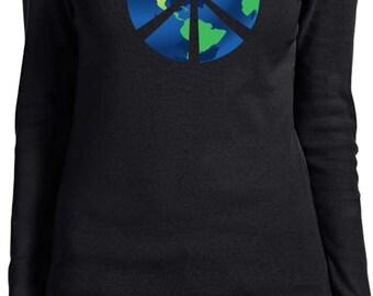 Ladies Peace Shirt Blue Earth Long Sleeve Tee T-Shirt BLUEEARTH-5001