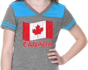 Girl's Distressed Canada Flag Football Tee CANADA-GJP0604