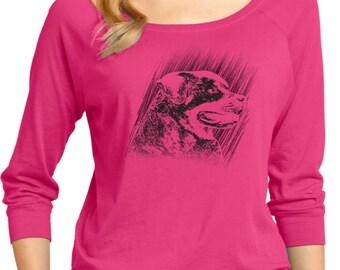 Ladies Rottweiler Sketch 3/4 Sleeve Scoop Neck ROTTWEILER-DM482