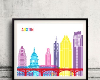 Austin pop art skyline - Fine Art Print Glicee Poster Gift Illustration Pop Art Colorful Landmarks - SKU 2253