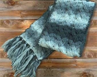Soft Cable Stripe Crochet Scarf, 70 inch super scarf w fringe, Gray Shades Wrap, 11 inch wide warm neck wrap, Winter Scarf, Head wrap