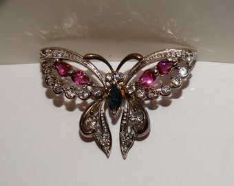 Vintage 925 Sterling Stamped Beautiful Jeweled Butterfly Hair Clip .