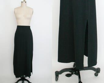 Vintage 1990s Express High Waist Skirt - Long Skirt - Calf Length - Black Body Con - Side Slit - Elastic Waist - Stretchy - Women's Small