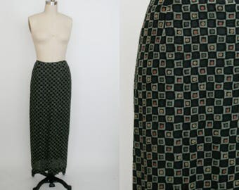 Vintage 1990s High Waist Skirt - Long Skirt - Calf Length - Floral Checker - Squares - Black - Fuzzy - Geometric - Women's Small