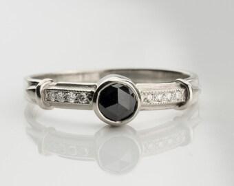 Rose cut black diamond ring, Black diamond ring, black stones rings, black diamond white gold ring, natural black diamond, black stone ring
