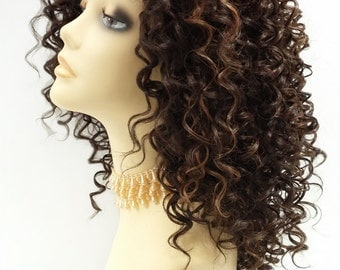 14 Inch Lace Front Dark Brown & Light Copper Curly Wig. Small Spiral Curls. Heat Resistant Synthetic Fashion Wig. [112-520-Flora-4/27]