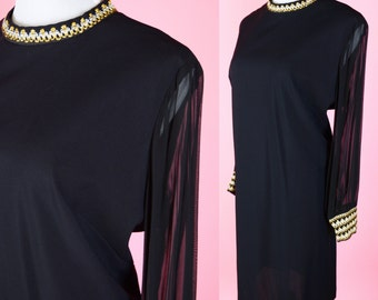 Vintage 60s, Black, Gold & Silver, Shift Dress // 1960s, Retro, Cocktail Party, Dress, Women Size Large