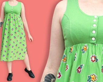 90s does 60s Maxi Mod Dress - Neon Green Sleeveless Floral Dress - Psychedelic Bold Flowers Baby Doll Dress - Bucolic Flower Power Dress