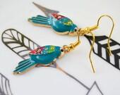 Rockabilly earrings - dangling neon - abstract style aztec parrot - pop - funky - neon - tropical - costume jewelery