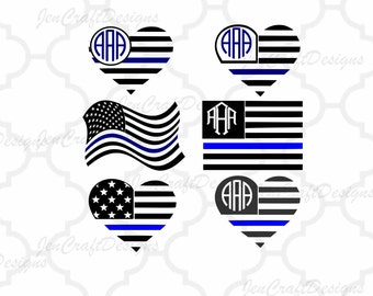 Blue Line SVG, All Lives Matter, USA flag monogram frames, Blue Lives Matter, United States SVG Digital craft cutter svg, eps, png, dxf