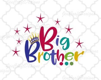 Big Brother SVG EPS DXf cut file set, Printable Png, Cricut Design Space Silhouette Studio Digital Cut Files, Sibling