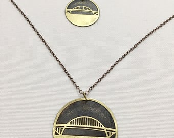 Fremont Bridge Necklace, Made in Oregon, Bridges of Portland, Brass Etched Necklace, Short Handmade Chain Necklace, Hand Forged