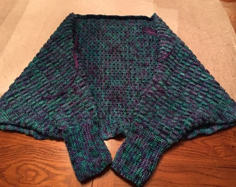 Knit Bed Jacket or Shawl with Tie - Oceania