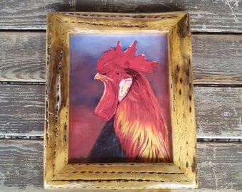 Cactus framed Rooster print from original hand painting