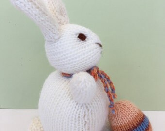 Knitted White Bunny.  Australian made Toy.