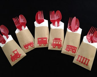 Cutlery Bags - Train Party - Train Birthday - Train Baby Shower - Locomotive - Choo Choo Train - Train Party Favors - Railroad - treat bags