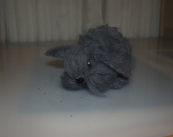 Realistic Grey Lop Eared Fluffy Bunny, Needle Felted in 100% Wool