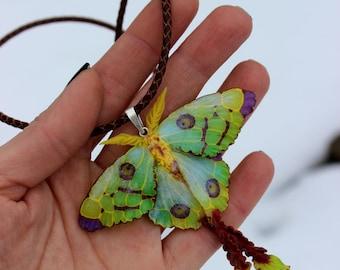 Luna moth pendant - Polymer clay pendant - jewelry necklace - butterfly boho jewelry, yellow-green jewelry