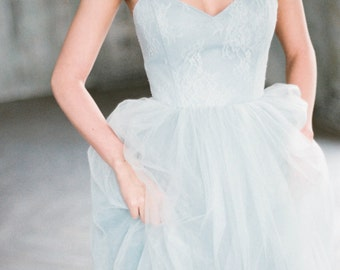 Tara - gray blue colored unique wedding dress, a-line open back tulle wedding gown with boned corset, sweetheart neckline, lace dress