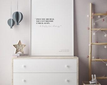 Velveteen Rabbit Print, Wall Art Nursery Print, Nursery Room Decor, Childrens Literary Art, Quote Poster