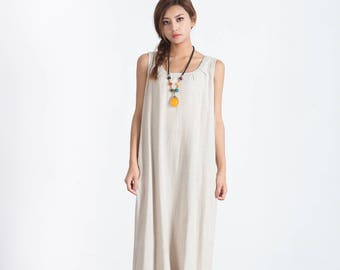 Loose maxi dress oversize cotton caftan linen dresses for women plus size clothing large size dress Custom made clothes A113