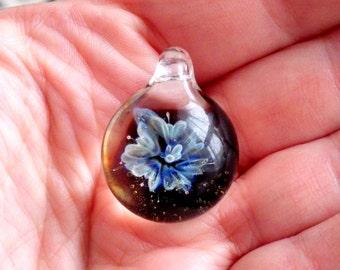 Turquoise Blue Lily Flower Heady Glass Pendant Botanical Inspired Jewelry 3D Blown Glass Necklace Hippie Boho Tribal Keepsake Gift Idea