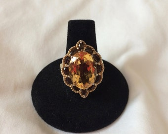 Citrine and Quartz ring in 18k yellow gold over Sterling silver