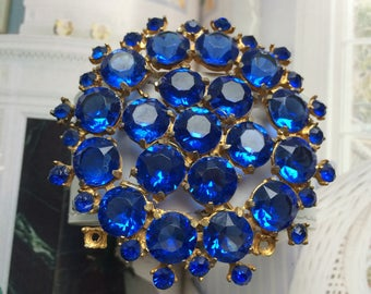 Huge Vintage Blue Brooch white leather cuff bracelet