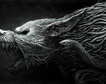DARK WOLF 8X10 Art PRINT. mystic wolf