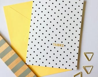 Polka Dots | Thanks Card| Thank You Card | Card For Her | Birthday Thank You | Graduate Thank You | Engagement Thanks | Thank You Note