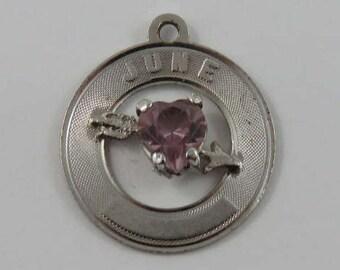 June Heart Birthstone Sterling Silver Vintage Charm For Bracelet