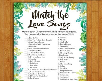 Bridal Shower Game Download - Match the Love Songs - Succulent & Cactus - Instant Printable Digital Download - Disney Songs Glitter Confetti