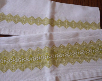 A Set of Two Vintage Handmade Dishtowels, Swedish Huck Embroidery - Spring Green, extra large