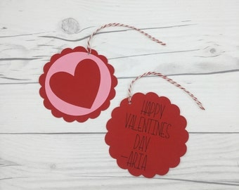 Valentine's Day Favor Tags, Personalized Valentines Favor Tags, Custom Valentines Goody Bag Tag