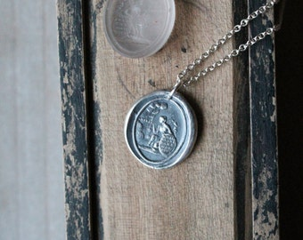 Female figure-friendship wax seal fine silver charm