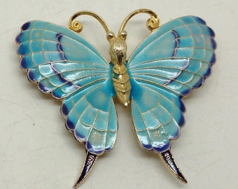 Vintage Turquoise Butterfly Brooch