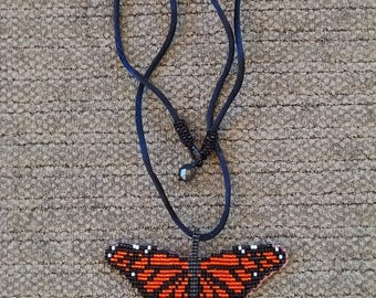 Beaded Monarch Butterfly Pendant Necklace, Off Loom Style, Orange Butterfly Wings, Nature Jewelry
