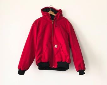 RED CARHARTT JACKET // 90s // Medium // Canvas Jacket // 90s Carhartt // Carhartt Jacket // 90s Carhartt // Carhartt Jacket // Carhartt