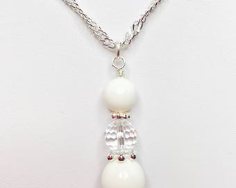 Ivory Swarovski Pearl and Crystal Necklace Wedding Jewelry Swarovski Elements Cream Pearl Pendant Crystal Bridal Gift Mother of the Bride