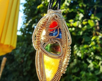 5 stone Powerful Watermelon tourmaline dagger Wrapped in .999 fine silver and gold
