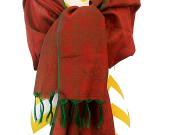 fringe scarf,Red Paisley Green Tassel Silk Scarf,wrap,Silk Stole,kashmiri Scarf,Head scarf,Hijab,Fall Accessory, tassel scarf