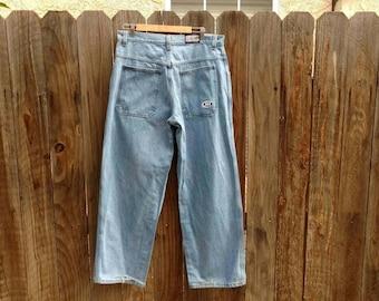 Vintage 90's Grunge Baggy Hi Cutline Men's Jeans Denim 36 USA Light Wash