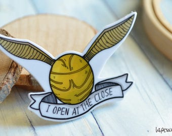 I open at the close, I open at the close brooch, golden snithc brooch, golden snithc pin, Harry Potter brooch, golden snitch illustration,