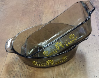 Set of 2 Glasbake Glass Casserole Baking Dishes ~ Oval & Loaf Pan ~ Smoke Brown Yellow Daisy ~ Vintage Ovenware (similar to pyrex)