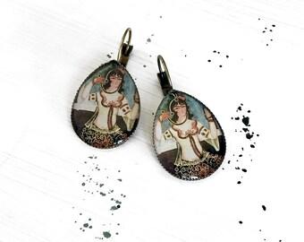 PARISIMA tear drop earrings -  Persian tile design Earrings - Persian jewelry- old painting - Persian miniature painting