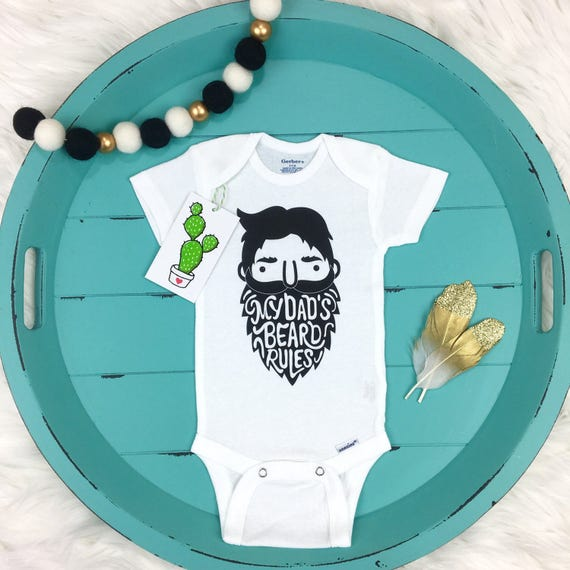 My Dad's Beard Rules Beard Onesie Bearded Dad Dad by TrendyCactus